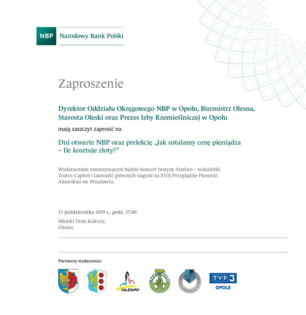 Zaproszenie na Dni Otwarte z NBP - Olesno 11 października 2019 r..jpeg
